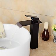 economico Serie bagno-Moderno Installazione centrale Cascata Valvola in ceramica Uno Una manopola Un foro Bronzo lucidato , Lavandino rubinetto del bagno