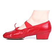 """billige Ballettsko-Dame Ballett Kunstlær Lær Høye hæler Innendørs utendørs Profesjonell Nybegynner Trening Tykk hæl Svart Rød 1 """"- 1 3/4"""" Kan"""