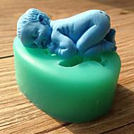 bolo de molde de silicone fondant de decoração bebê de sono molde de chocolate cor aleatória