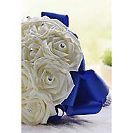 """פרחי חתונה עגול ורדים זרים חתונה חתונה/ אירוע סאטן קצף אבן ריין גביש 7.09""""(לערך.18ס""""מ)"""