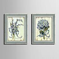 花柄/植物の 額入りキャンバス / 額入りセット ウォールアート,ポリ塩化ビニル グレー マットなし フレーム付き ウォールアート