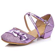 billige Moderne sko-Barn Moderne Syntetisk Høye hæler Trening Nybegynner Innendørs Snøring Pels Lav hæl Fersken Rød Rosa Lilla 3,5 cm Kan ikke