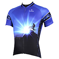 cheap -ILPALADINO Men's Short Sleeve Cycling Jersey - Blue Bike Jersey Top Breathable Quick Dry Ultraviolet Resistant Sports Polyester 100% Polyester Terylene Mountain Bike MTB Road Bike Cycling Clothing