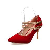 abordables Talons pour Femme-Femme Chaussures Faux Daim Printemps Eté Automne Talon Aiguille Boucle Pour Décontracté Noir Rouge Bleu