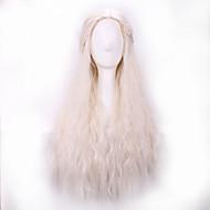 Kadın Sentetik Peruklar Bonesiz Uzun Dalgalı Beyaz Orta Bölüm Örgülü Peruk Cadılar Bayramı Peruk Karnaval Peruk kostüm Peruk