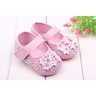 cheap Baby Shoes-Girls' Shoes Spring Fall First Walkers Flats Rhinestone Magic Tape for Casual Outdoor Dress Black White Pink
