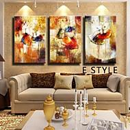billiga Oljemålningar-HANDMÅLAD Abstrakt Horisontell,Klassisk Traditionellt Tre paneler Hang målad oljemålning For Hem-dekoration