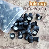 100pcs / כוסות דיו איפור קבועות שקית עם טבעות דיו בעל כובעי דיו ספוג