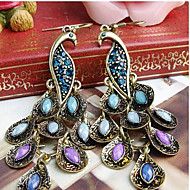 cheap -Women's Cubic Zirconia Long Drop Earrings Dangle Earrings Cubic Zirconia Rhinestone Earrings Peacock Statement Ladies Vintage Bohemian Folk Style Jewelry Royal Blue For Party Special Occasion