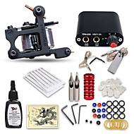 Starter Tattoo Kits-Tattoo Machine Starter Kit 1 cast iron machine liner & shader Professional High Quality Mini power supply 1 x stainless steel grip 10 pcs