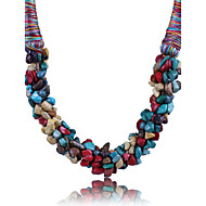 Women's Crystal uncut diamond Statement Necklace Statement Ladies Red Blue Rainbow Necklace Jewelry For Party