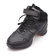 billige Men's Dance Shoes-Herre / Dame Jazz-sko Lær / Lerret Flate Snøring Flat hæl Kan ikke spesialtilpasses Dansesko Svart / Innendørs / Trening / Profesjonell