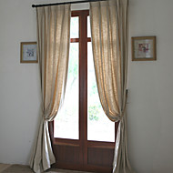 Rod Pocket Grommet Top Tab Top Double Pleated Two Panels Curtain Country Modern Mediterranean European Designer , Solid Living Room Linen