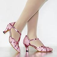 billige Moderne sko-Dame Moderne sko Paljett / Kunstlær Høye hæler / Sandaler Paljett / Gummi / Spenne Kustomisert hæl Kan spesialtilpasses Dansesko Rosa /