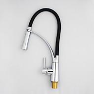 abordables -Grifería de Cocina - 1 Orificio Cromo Pull-out / Pull-down Montaje en encimera Moderno / Sola manija Un agujero