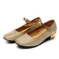 baratos Sapatilhas de Dança-Mulheres Sapatos de Dança Moderna Flocagem Sapatilha / Sandália Gliter com Brilho Salto Baixo Não Personalizável Sapatos de Dança Prateado / Dourado / Ensaio / Prática / Profissional