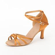 billige Sko til latindans-Dame Latin Ballett Sateng Sandaler Spenne Stiletthæl Svart Rød Brun 7,5 cm Kan ikke spesialtilpasses