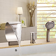 Contemporary Tub And Shower Waterfall Handshower Included with  Ceramic Valve Three Holes Single Handle Three Holes for  Nickel Brushed ,