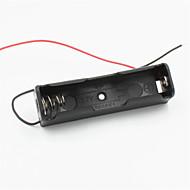 billige -Gør-Det-Selv 1-Port 18650 Batteriholder M / 2 Ledninger - Sort