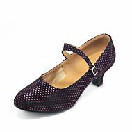"""billige Moderne sko-Dame Moderne Kunstlær Semsket lær Høye hæler Innendørs Ytelse Profesjonell Nybegynner Trening Spenne Kubansk hæl Fuksia 2 """"- 2 3/4"""" Kan"""