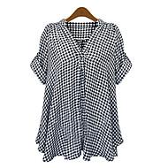 voordelige Damestops-Dames Klassiek & Tijdloos Chic & Modern Overhemd Blokken Gemengde kleuren V-hals Ruimvallend Vleermuismouw