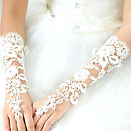 cheap Wedding Gloves-Lace Polyester Cotton Wrist Length Elbow Length Glove Charm Stylish Bridal Gloves With Acrylic Embroidery Solid