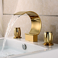 お買い得  TI-PVD Series-バスルームのシンクの蛇口 - 滝状吐水タイプ Ti-PVD 組み合わせ式 三つ 二つのハンドル三穴