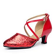 """billige Moderne sko-Dame Moderne Paljett Høye hæler utendørs Gummi Kustomisert hæl Gull Svart Sølv Rød 2 """"- 2 3/4"""" Kan spesialtilpasses"""