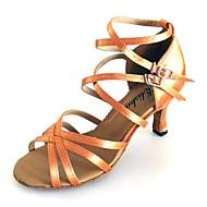 billige Kustomiserte dansesko-Dame Latin Salsa Sateng Sandaler Innendørs Ytelse Profesjonell Nybegynner Trening Kustomisert hæl Gyldenbrun Svart Grønn Kan