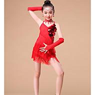 お買い得  セール-子供用ダンスウェア セット 子供用 性能 プロミックス スパンコール クリスタル/ラインストーン タッセル ドレス スリーブ Neckwear