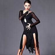 Dança Latina Vestidos Mulheres Treino Espetáculo Tule Fibra de Leite Mocassim Manga Longa Vestido Calções