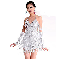 Latin Dance Dresses Women's Performance Polyester / Spandex Paillette Sleeveless Dress