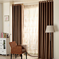 cheap Blackout Curtains-Rod Pocket Grommet Top Double Pleat Two Panels Curtain Country Modern Neoclassical Mediterranean , Jacquard Solid Bedroom Polyester