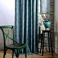 Rod Pocket Grommet Top Double Pleated Two Panels Curtain Country Modern Neoclassical , Polka Dots Bedroom Poly / Cotton Blend Material