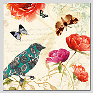 billiga Djurporträttmålningar-HANDMÅLAD Djur Fyrkantig, Klassisk Europeisk Stil Moderna Traditionell Duk Hang målad oljemålning Hem-dekoration En panel