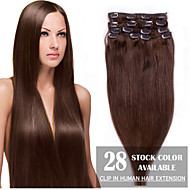 "24 ""medium brun (# 4) 8pcs klip i menneskehår extensions"