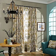 Two Panels Country Leaf Brown Green Bedroom Linen Cotton Blend Panel Curtains Drapes