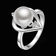 Women's Statement Ring - Pearl, Cubic Zirconia, Silver Plated Heart Ladies, Fashion Jewelry White For Party One Size / Imitation Diamond