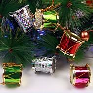 12 stk 2,5 cm fargerik side trommer juletrær og fest dekorasjon