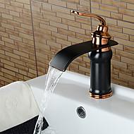 Håndvasken vandhane - Vandfald Olie-gnedet Bronze Udspredt Enkelt håndtag Et HulBath Taps / Messing