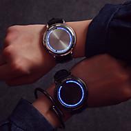 billige Sportsur-Herre Quartz Unik Creative Watch Armbåndsur Touch-skærm LED Læder Bånd Kreativ Mode Sej Sort