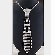 نسائي مكشكش طويل القلائد بيان قلادة طويلة مطلي بالفضة تقليد الماس سيدات شرابة أبيض قلادة مجوهرات من أجل