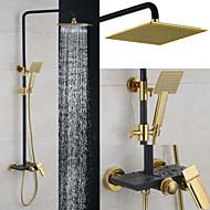 billige Rabatt Kraner-Dusjkran - Moderne Krom Vægmonteret Keramisk Ventil Bath Shower Mixer Taps / Messing