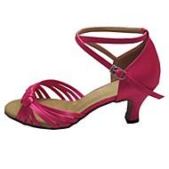 baratos Sapatilhas de Dança-Mulheres Sapatos de Dança Latina / Sapatos de Salsa Cetim Sandália Salto Personalizado Personalizável Sapatos de Dança Bronzeado /