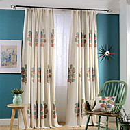 Grommet Top Double Pleated Two Panels Curtain Country Modern Neoclassical Bedroom Linen / Cotton Blend Material Curtains Drapes Home