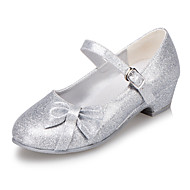 Girls' Heels Leatherette Spring Summer Fall Winter Casual Outdoor Bowknot Low Heel Pink Silver Blue Gold Under 1in