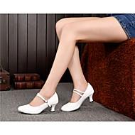 baratos Sapatilhas de Dança-Mulheres Sapatos de Dança Moderna Couro Sandália Têni Salto Espetáculo Presilha Pêlo Cadarço Salto Cubano Marfim Vinho Preto Dourado 2 -