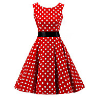 cheap -Women's Going out Vintage 1950s A Line Dress - Polka Dot Print Spring Cotton Red XXL XXXL XXXXL