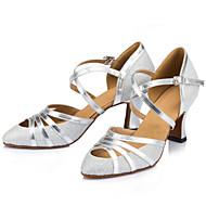 """billige Moderne sko-Dame Latin Ballett Glimtende Glitter Høye hæler Innendørs Spenne Stiletthæl Champagne Svart Sølv 2 """"- 2 3/4"""" Kan spesialtilpasses"""
