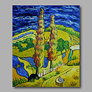 Ready to hang Stretched Hand-Painted Oil Painting Canvas Abstract Van Gogh repro Road with Crypress One Panel